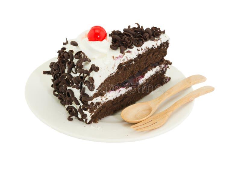 在白色背景的Blackforest蛋糕 免版税库存照片