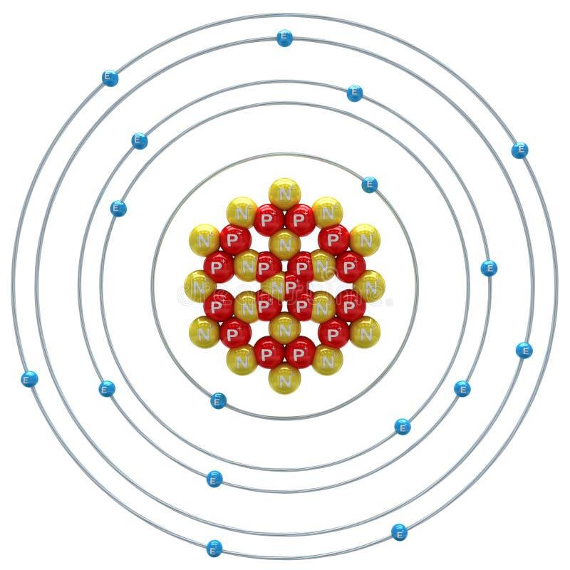 在白色背景的Chlorum (同位素)原子 库存例证