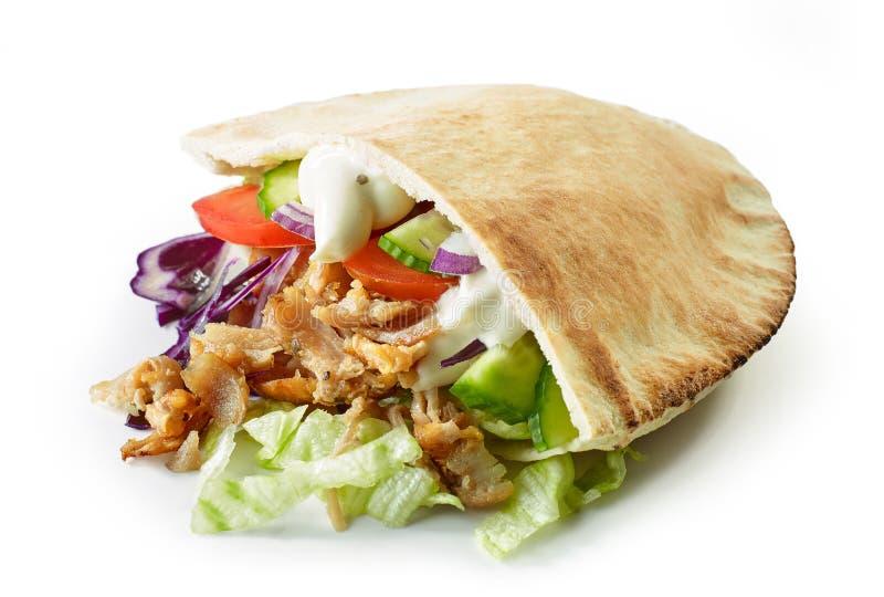 在白色背景的Doner kebab 库存照片