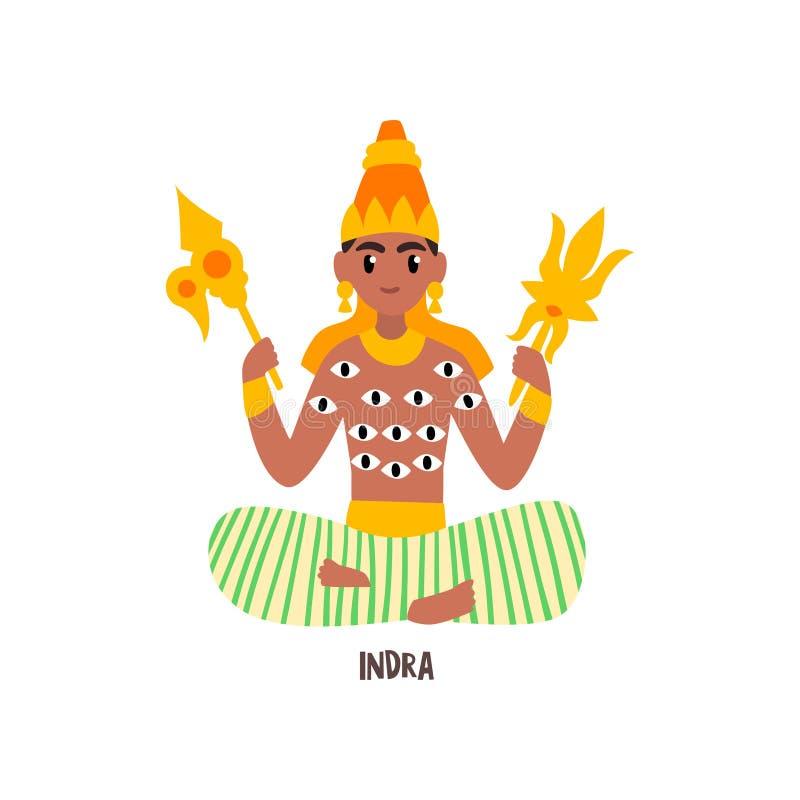 在白色背景的Indra印地安上帝传染媒介例证 库存例证