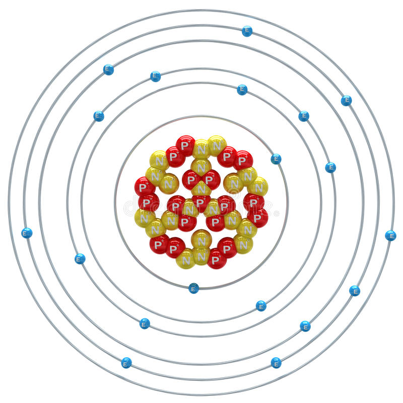 在白色背景的Kalium (不稳定的同位素)原子 皇族释放例证