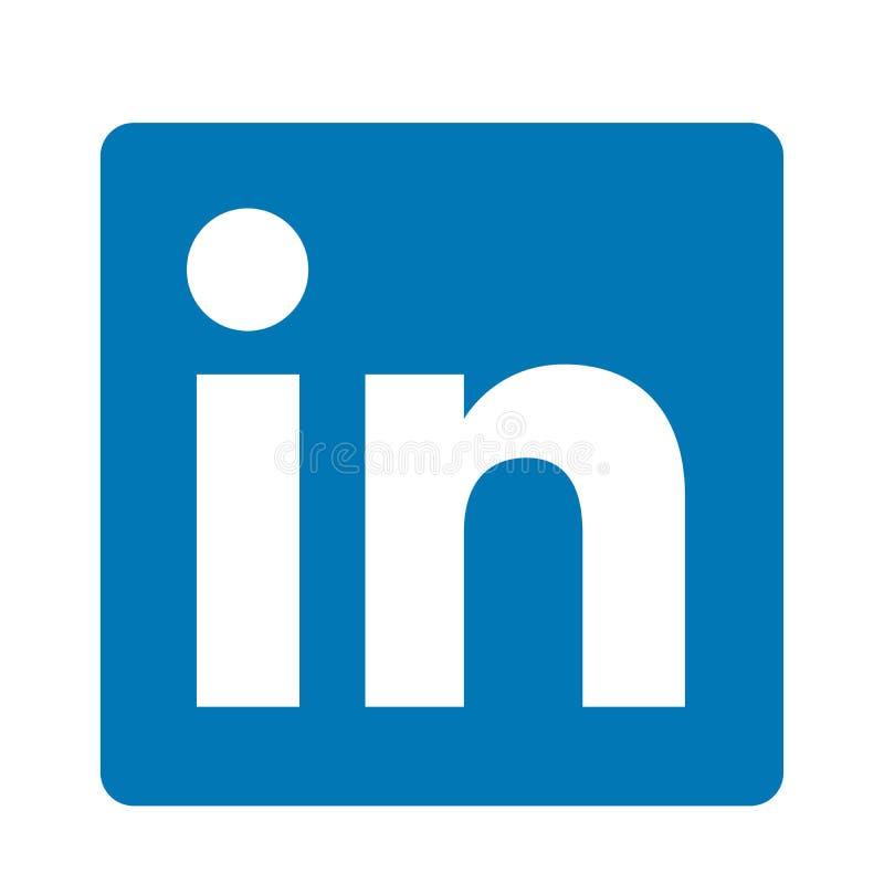 在白色背景的LinkedIn社会媒介原始的商标象商标传染媒介元素 皇族释放例证