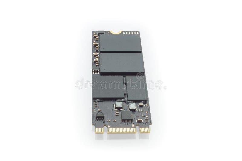 在白色背景的M2高速SSD特写镜头 库存照片