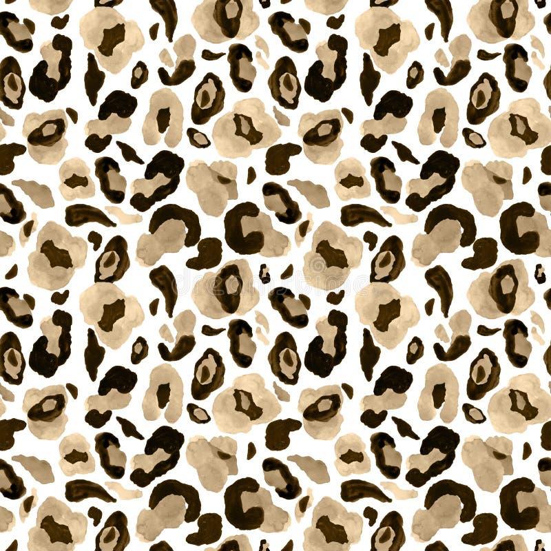 在白色背景的Rendy动物皮毛无缝的样式 水彩手画豹子不尽的印刷品 向量例证