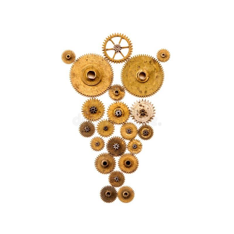 在白色背景的Steampunk猫头鹰 机械装饰品样式对象宏指令视图 葡萄酒钟表机构钝齿轮 金古铜 库存图片