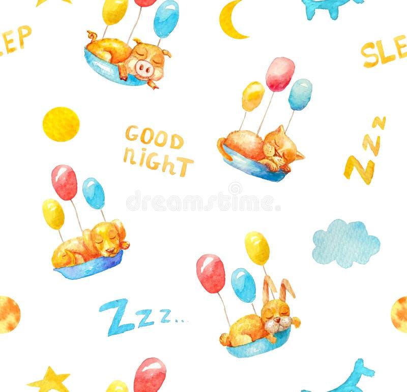 在白色背景睡觉动物小猪,小猫,小狗,与五颜六色的气球的兔宝宝的无缝的样式 向量例证