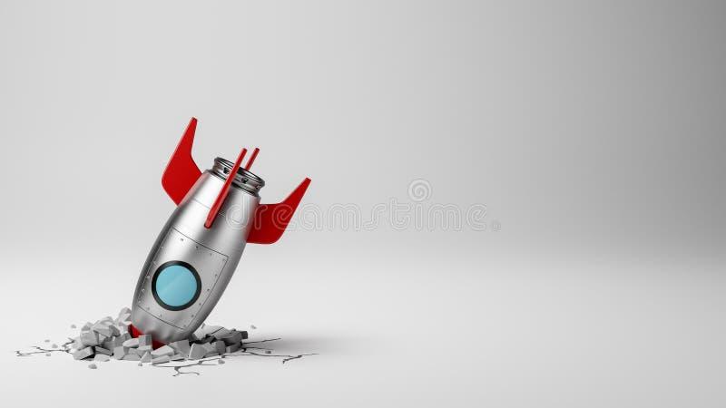 在白色背景碰撞的动画片太空飞船 向量例证