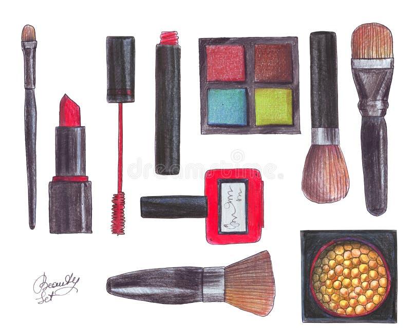 在白色背景秀丽对象:眼影膏,刷子,唇膏,指甲油, maskara,胭脂 辅助部件手拉的机智 皇族释放例证