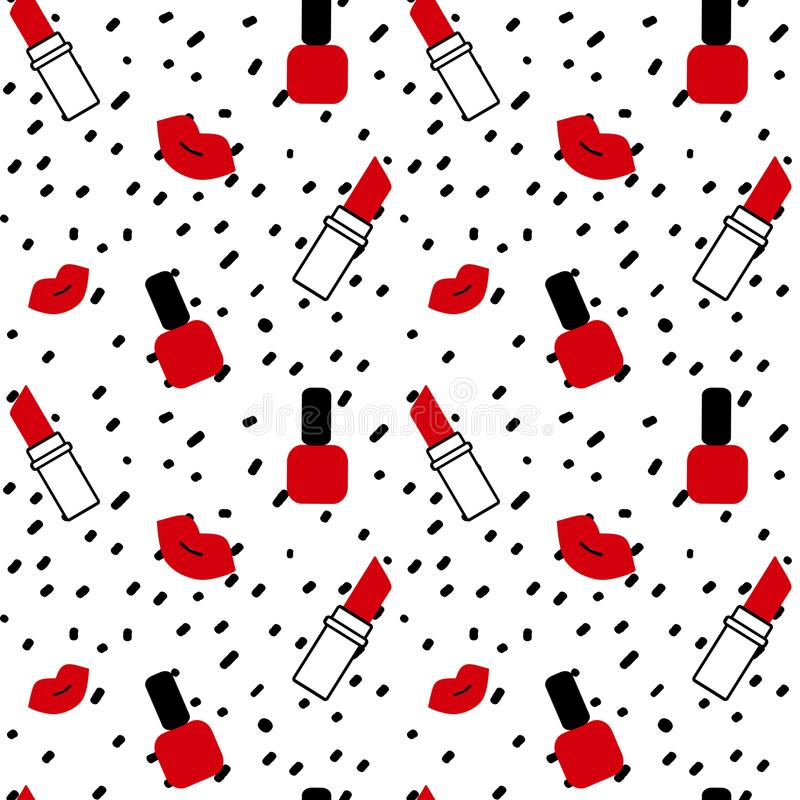 在白色背景简单的抽象无缝的传染媒介样式例证的手拉的黑五彩纸屑与红色嘴唇、唇膏和na 库存例证