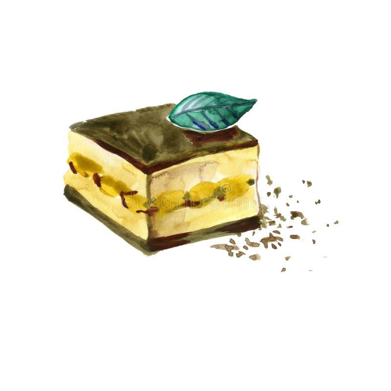 在白色背景绘的水彩意大利甜点心提拉米苏 库存例证