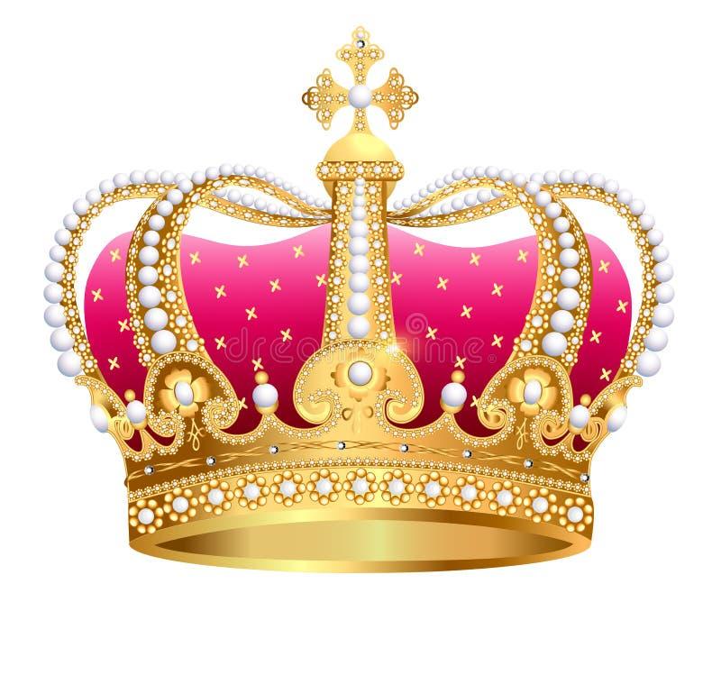 在白色背景绝缘的金黄皇家冠 皇族释放例证