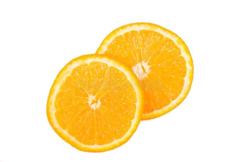在白色背景隔绝的橙色切片 库存照片
