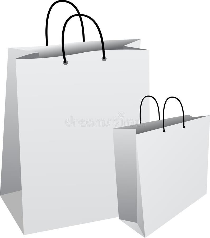 在白色背景被设置隔绝的空白的纸袋 皇族释放例证