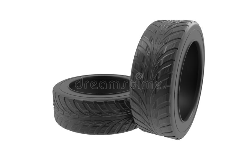 在白色背景被设置隔绝的车轮轮胎 3d回报现实汽车轮胎例证 对横幅设计海报 库存例证