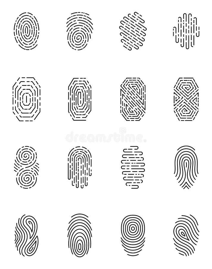 在白色背景被设置隔绝的黑指纹 鉴定系统,安全构想, apps象的元素 库存例证