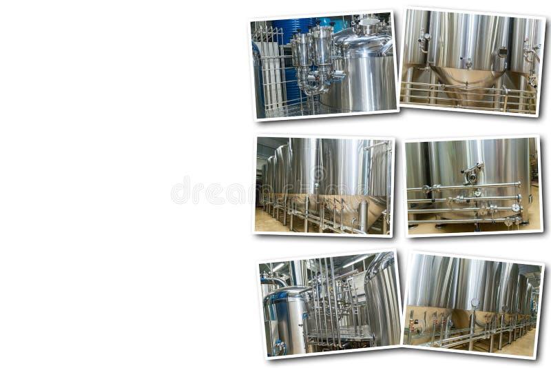 在白色背景设备的拼贴画啤酒生产的 免版税库存图片