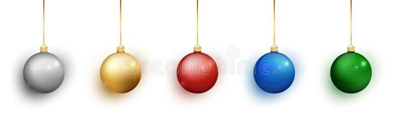 在白色背景设置的五颜六色的圣诞节球 圣诞节装饰生态学木 圣诞节设计的传染媒介对象,大模型 传染媒介realis 向量例证