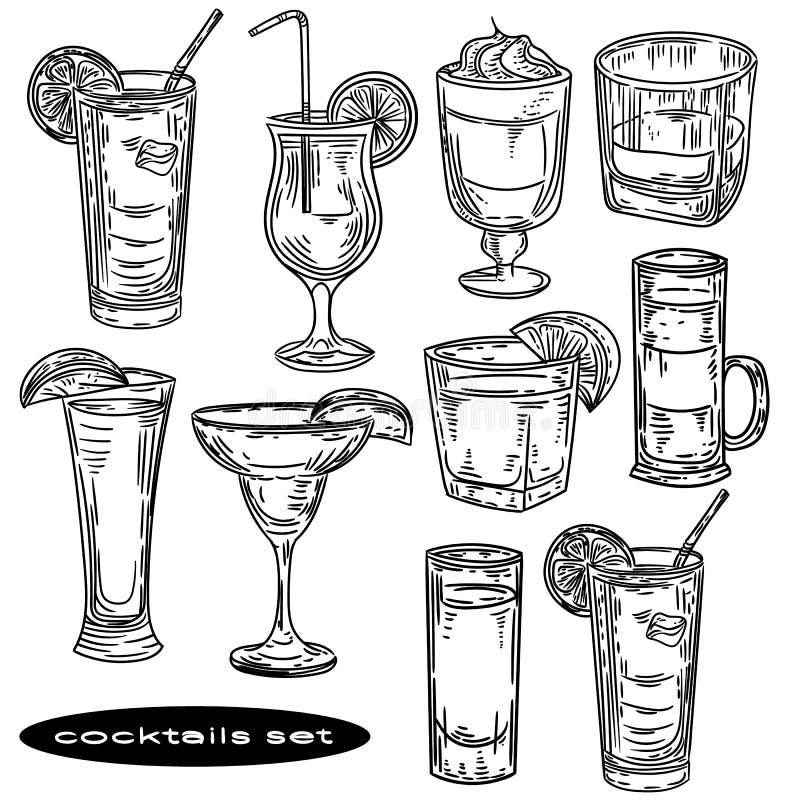 在白色背景设置的手拉的鸡尾酒 库存例证