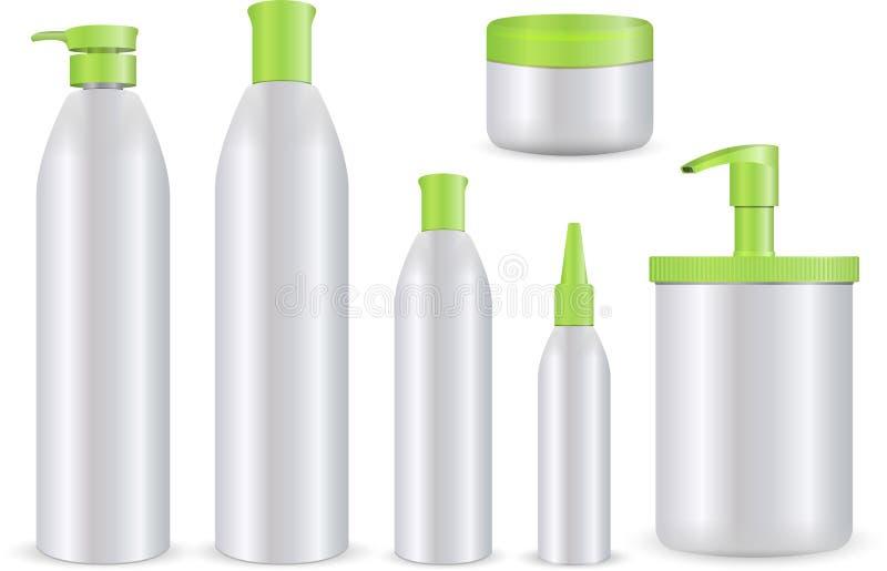 在白色背景设置的现实化妆瓶 化妆容器和管奶油的,化妆水,香波,胶凝体,凤仙花, conditio 向量例证