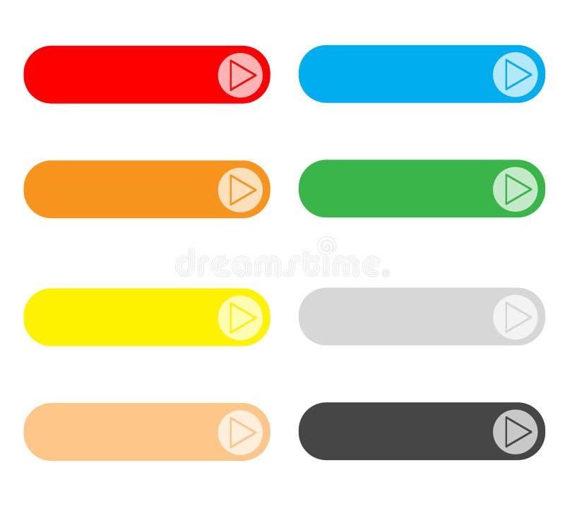 在白色背景设置的空的网按钮 皇族释放例证