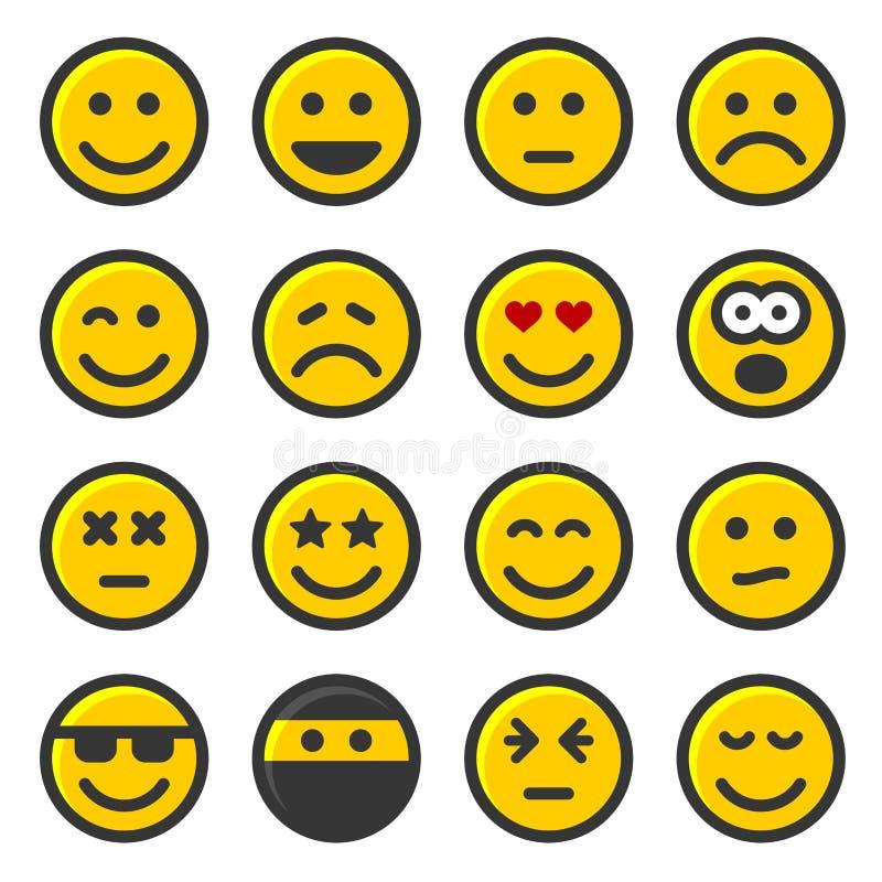 在白色背景设置的黄色微笑象 向量 皇族释放例证