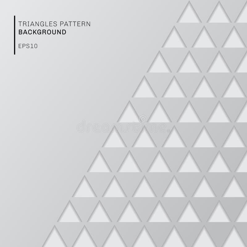 在白色背景资料的抽象灰色三角样式削减了与拷贝空间的样式 现代几何墙纸 向量例证