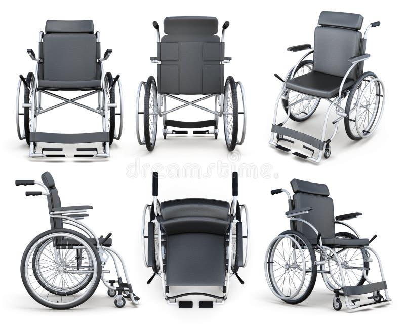 在白色背景轮椅隔绝的套 3d翻译 皇族释放例证