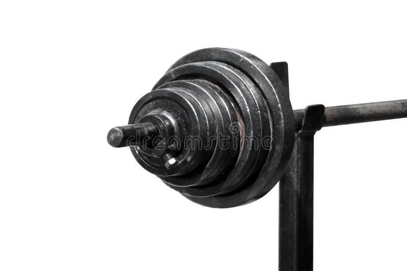 在白色背景选择聚焦隔绝的黑杠铃,体育杠铃、黑哑铃、杠铃在白色和拷贝空间 免版税库存图片
