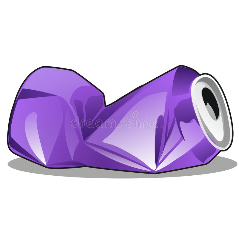 在白色背景锡罐紫色颜色隔绝被弄皱的 传染媒介动画片特写镜头例证 皇族释放例证