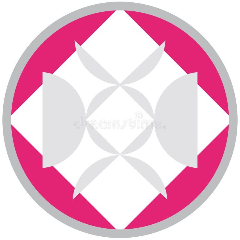 在白色背景隔绝的一个桃红色圈子的几何形状 皇族释放例证