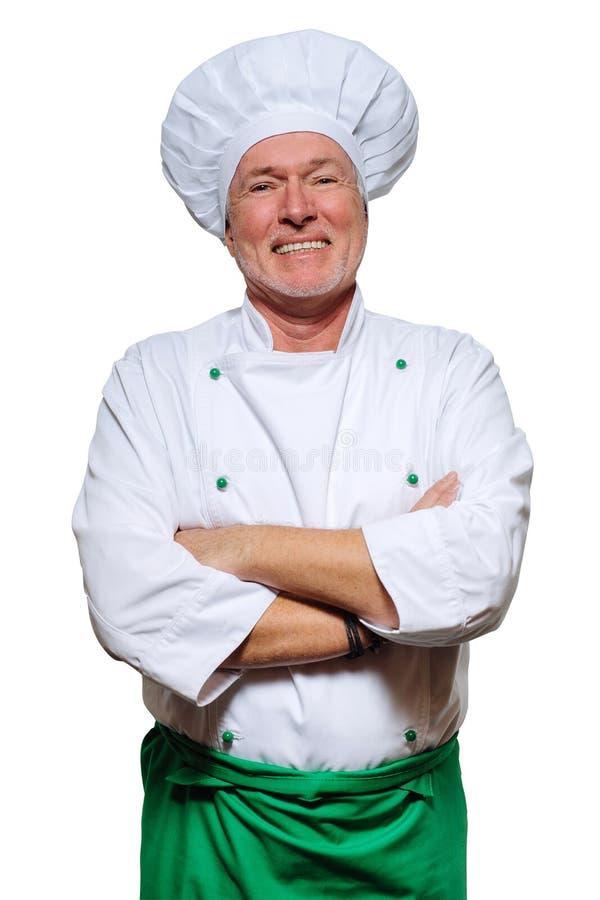 在白色背景隔绝的一位微笑的厨师的画象 友好,快乐,吸引人厨师 免版税库存图片