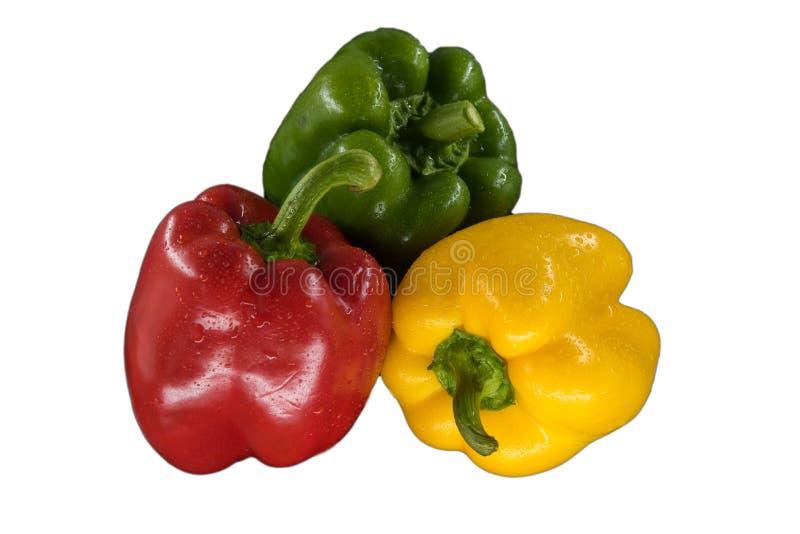 在白色背景隔绝的三个甜椒,关闭  库存照片