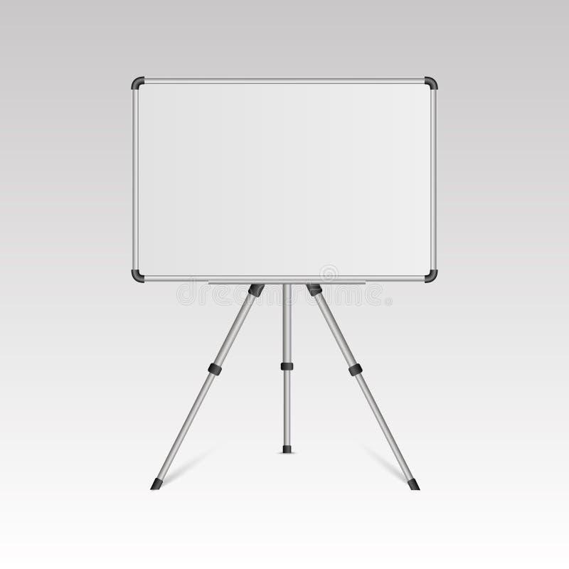 在白色背景隔绝的三脚架立场的现实空白的whiteboard 向量 皇族释放例证