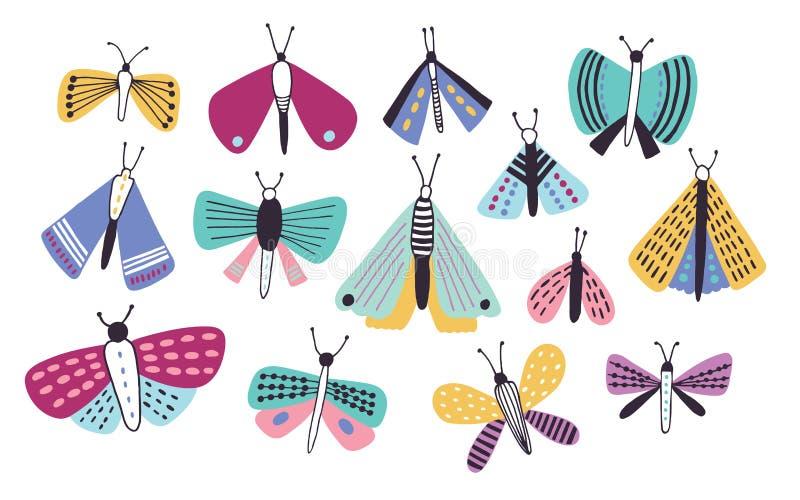 在白色背景隔绝的不同的类型和大小明亮的色的动画片飞蛾的汇集 夜的飞行 皇族释放例证