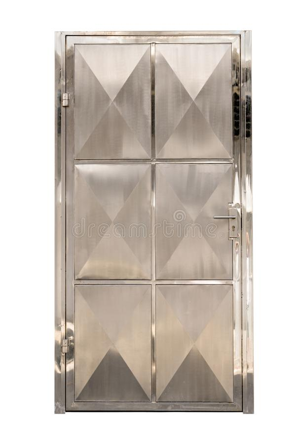在白色背景隔绝的不锈钢门,裁减路线 库存照片