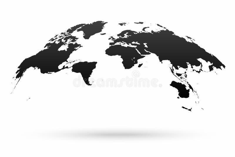 在白色背景隔绝的世界地图地球 在地球形状的风格化世界地图与阴影 皇族释放例证