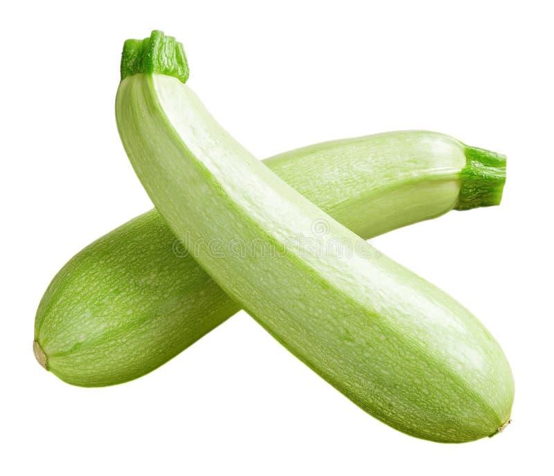 在白色背景隔绝的两个新绿色绿皮胡瓜或夏南瓜十字形 新鲜蔬菜,素食主义和健康 免版税图库摄影