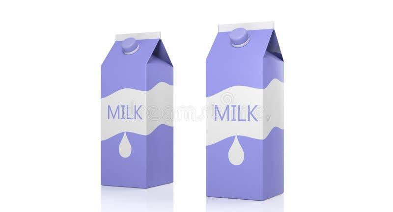 在白色背景隔绝的两个牛奶纸盒箱子 3d例证 库存照片