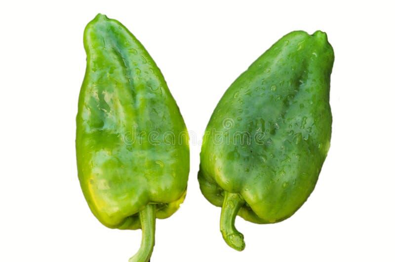 在白色背景隔绝的两绿色未加工的胡椒响铃由截去,在有机新鲜蔬菜的水下落,素食和 免版税库存照片