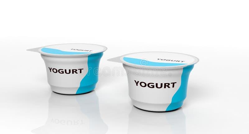 在白色背景隔绝的两酸奶 3d例证 免版税库存照片
