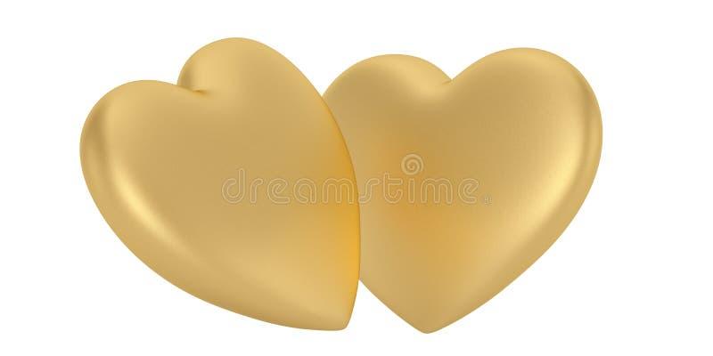 在白色背景隔绝的两金黄心脏 3d?? 库存例证