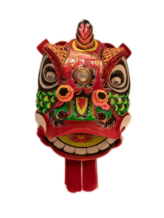 在白色背景隔绝的中国舞狮顶头面具,中国风格 免版税图库摄影
