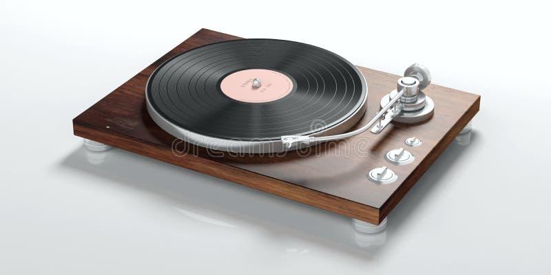 在白色背景隔绝的乙烯基LP电唱机 库存例证