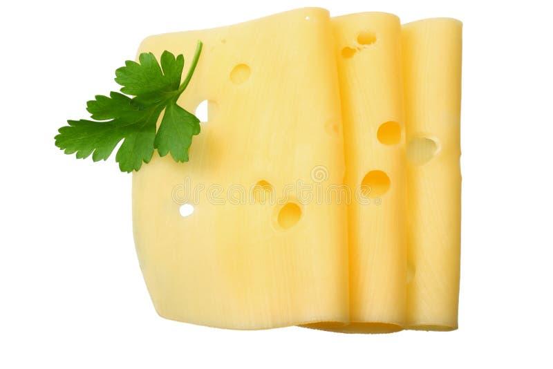 在白色背景隔绝的乳酪切片 顶视图 库存图片