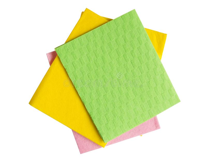 在白色背景隔绝的五颜六色的厨房清洁餐巾 免版税库存照片