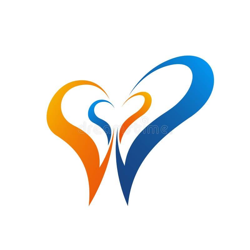 在白色背景隔绝的五颜六色的心脏向量图形模板例证 心脏传染媒介象,爱标志 华伦泰s天 皇族释放例证