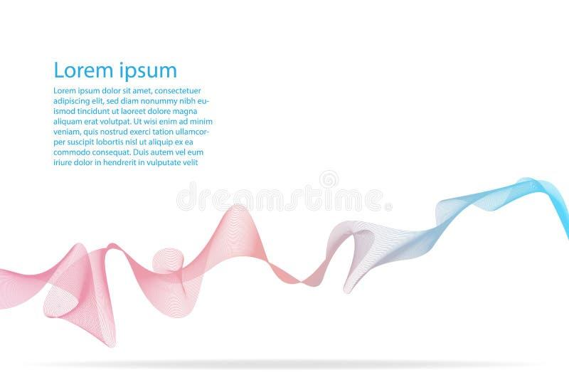 在白色背景隔绝的五颜六色的抽象波浪线 向量例证