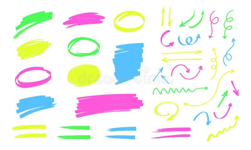 在白色背景隔绝的五颜六色的轮廓色_乱画 文本、线和箭头的框架画与标志 皇族释放例证
