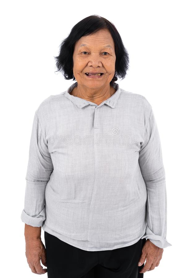 在白色背景隔绝的亚裔资深妇女 免版税图库摄影