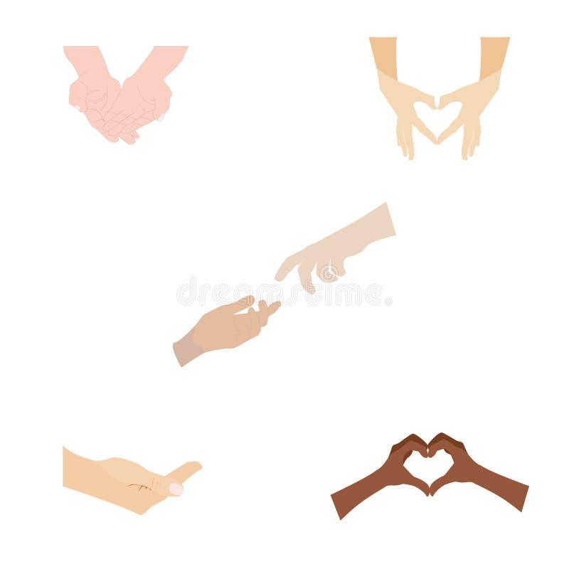 在白色背景隔绝的人的手各种各样的姿态  变化人 库存例证
